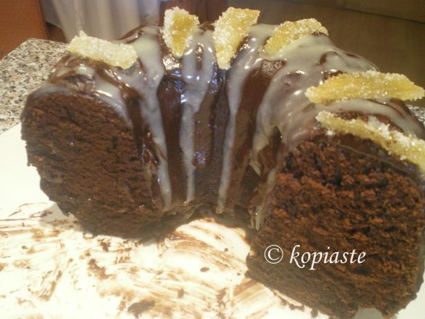 Ginger cake with candied lemon peels