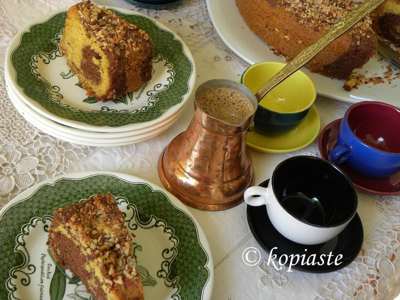 Marbled cake with Greek coffee