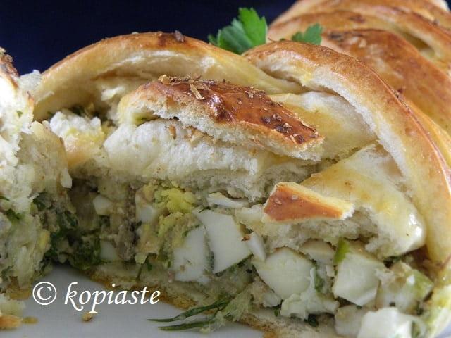 Piroshkis baked and cut