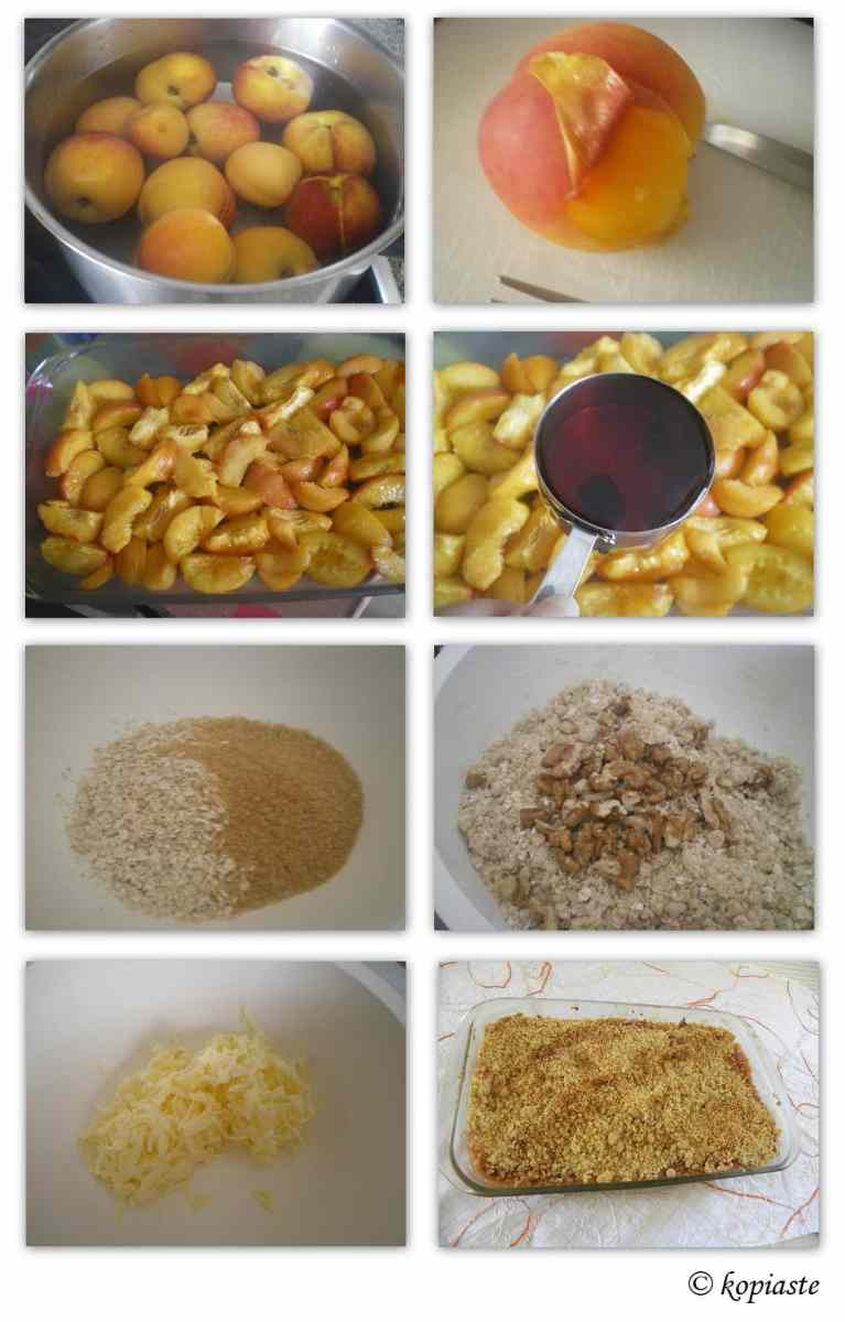 collage Peach and apricot cherry crumble