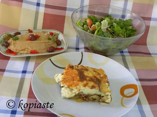 Vegan moussakas with salata me ladolemono moustardas