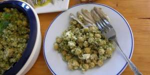 Chickpea Salad with Bulgur Wheat, Feta and Pesto