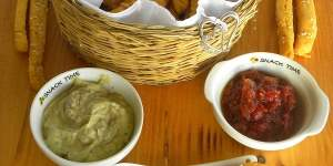 Spicy Cornmeal Breadsticks with Graviera Cheese and Tomato Chutney