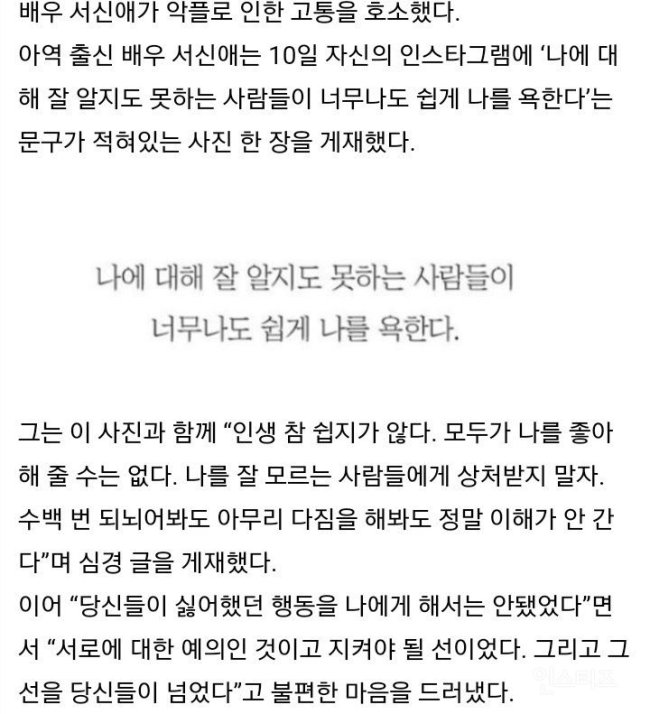 Image: Seo Shin Ae's last postal servicein regards to the hateful comments she is getting before deleting her Instagram account