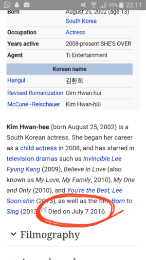 Image: An edit made allegedly by an EXO-L on Kim Hwan Hee's profile that says she died.