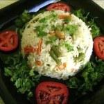 Coconut Milk Vegetable Pulao Recipe – Microwave Version | Coconut Milk Vegetable Rice Recipe