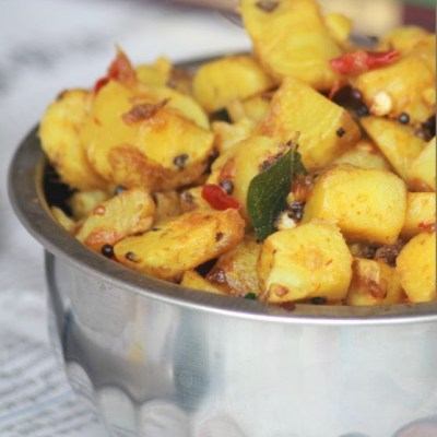 Koorka Mezhukkupuratti Recipe – Stir-fried Chinese Potatoes Recipe