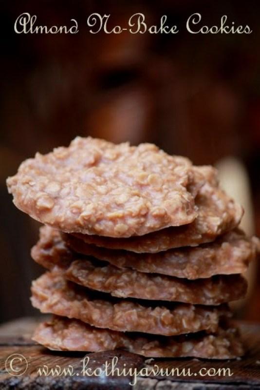 Almond No-Bake Cookies - Vegan Recipe  kothiyavunu.com