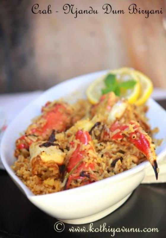 Crab Dum Biryani -Njandu Biryani - Kerala Style |kothiyavunu.com