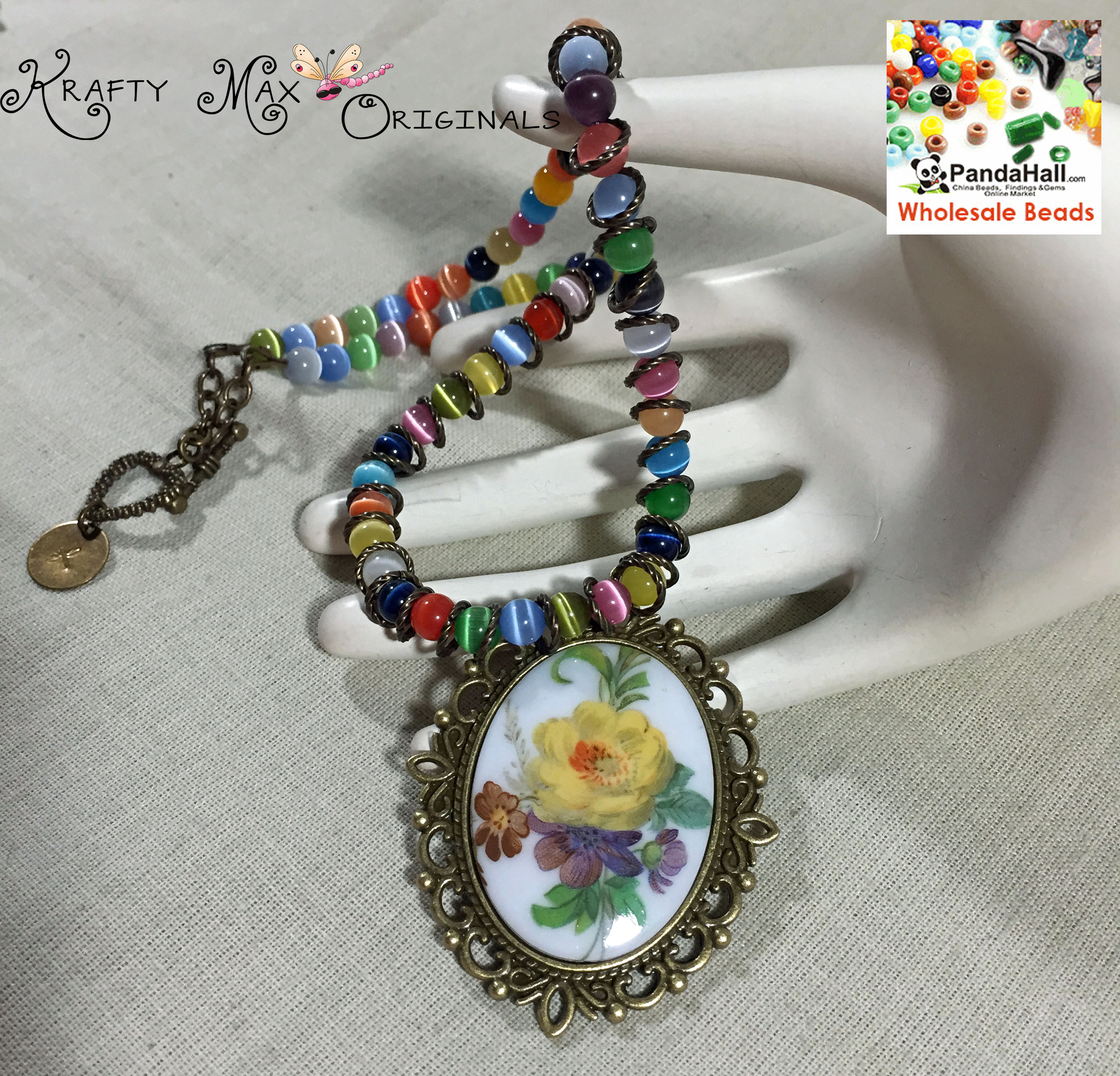 Rainbow Flower Cabochon Necklace with Findings from Panda Hall
