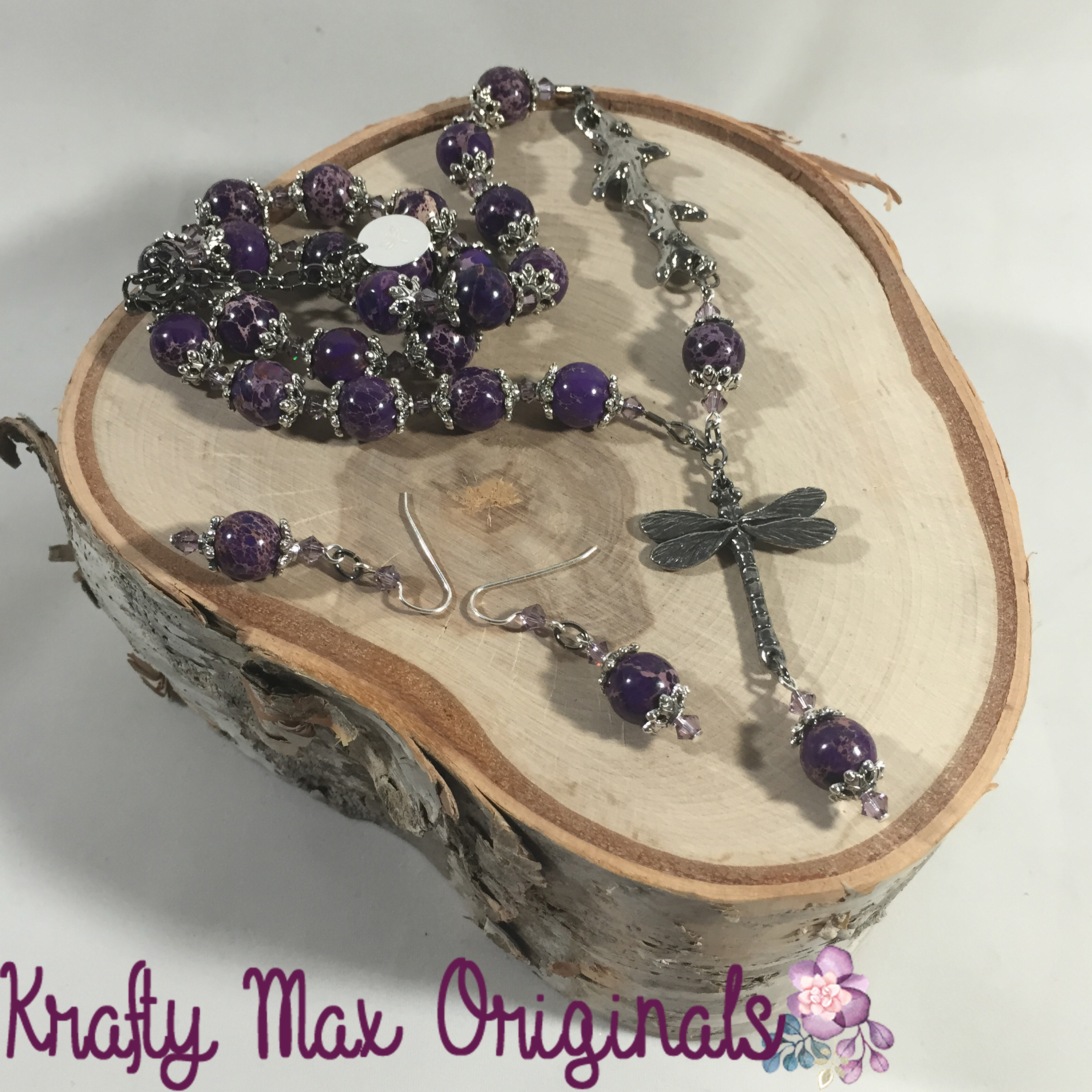 A Dragonfly Flying to a Branch with Purple Magnesite Necklace Set