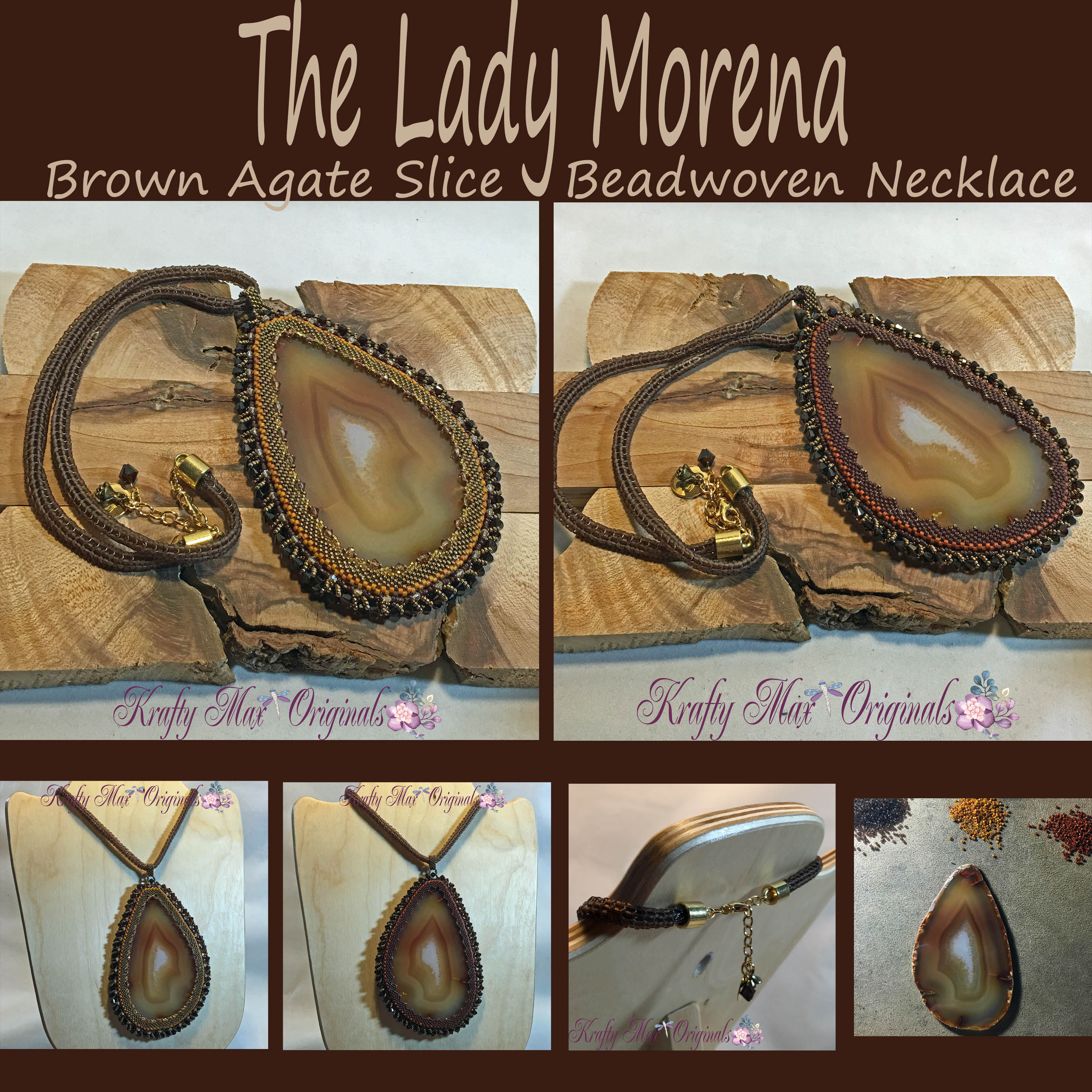 The Lady Morena – Brown Agate Slice Beadwoven Necklace