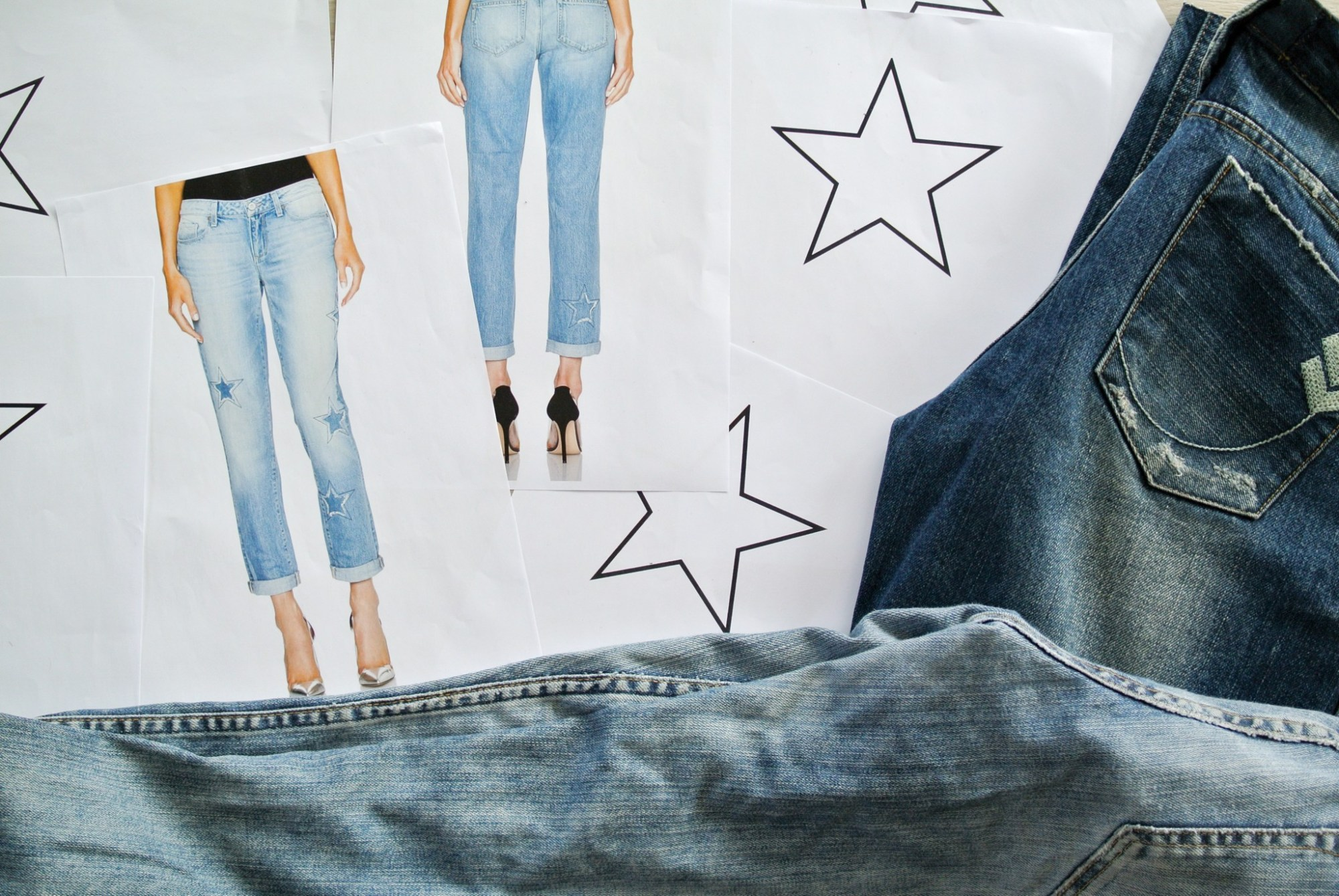 DIY Star Patched Jeans 10