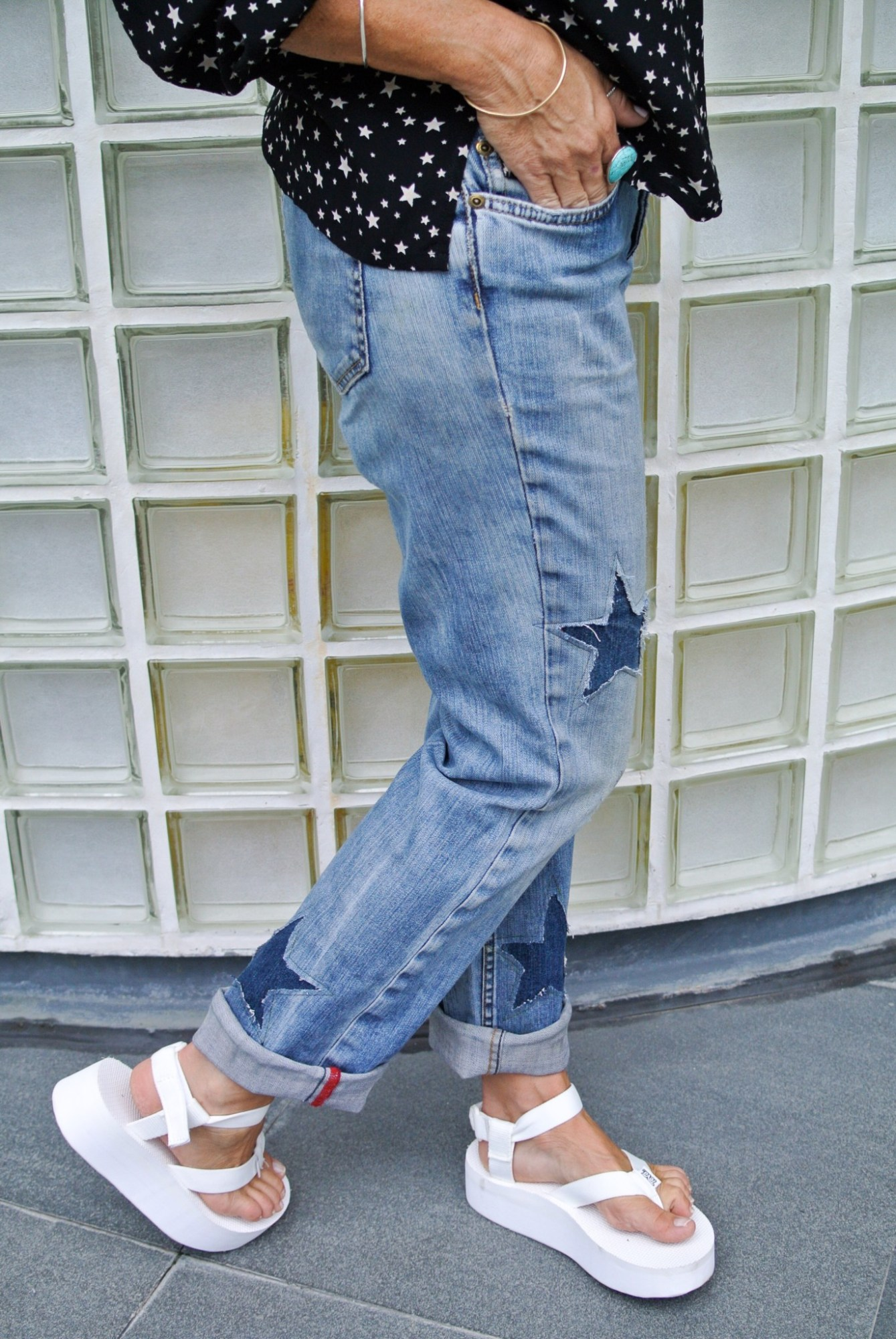 DIY Star Patched Jeans 4