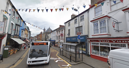 high street with bus