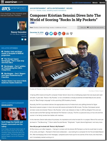 "Composer Kristian Sensini Dives Into The World of Scoring ""Rocks In My Pockets"" - New York NY - Examiner"