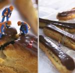 little people as construction workers investigate crack in donut