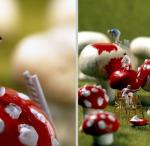little people painting mushrooms red with white polka dots