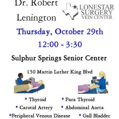 Free Screenings with Dr. Lenington at the Sulphur Springs Senior Center
