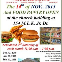 Community Outreach Lunch Sat. Nov. 14, 2015 – 11am to 1p.m. at MLK Church of Christ