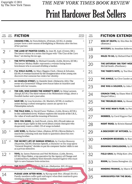 NYT BestSeller List with Shin