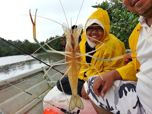 memancing udang galah di sedili kechil