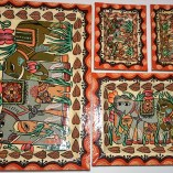 Tray set Paper Meche elephant painted