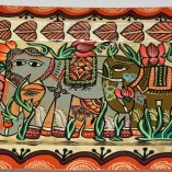 Paper Meche tray elephant painted