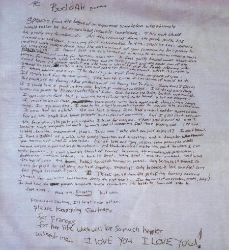 Kurt Cobain's Handwritten Suicide Note