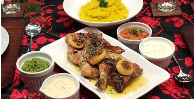 Pot Roasted Chicken with Four Dips and Mashed Kalabasa Recipe