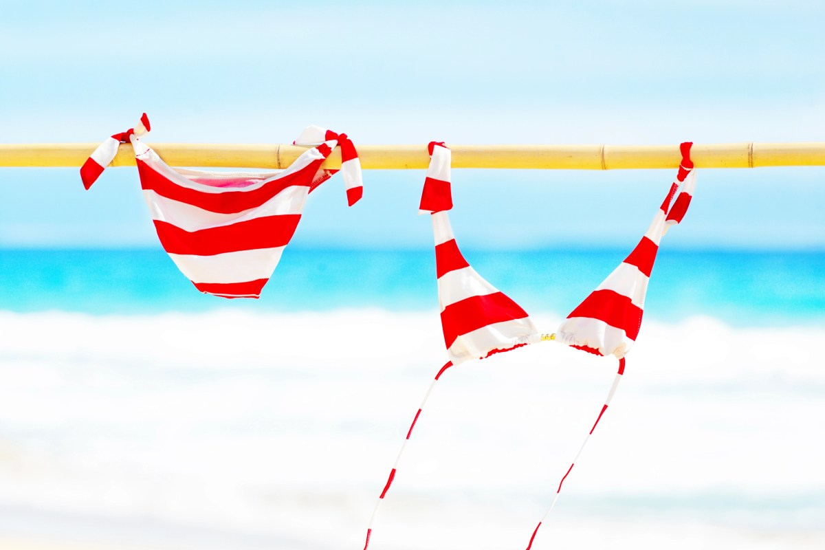 Red and white stripe bikini swimsuit hanging and drying on a bamboo pole on the beach by the ocean in a bright sunny day on the beach. Designed for the travel, tourist industry. Photographed on location in Kauai, Hawaii in horizontal format with available copy space.