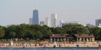 beach scene in Chicago