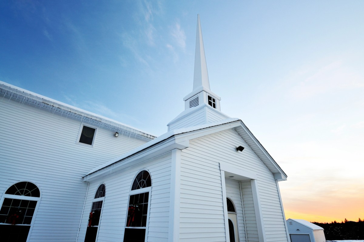 """""""Cold wide angle perspective of an idyllic white country church. Taken at sundown, temp was 11 deg. F."""""""