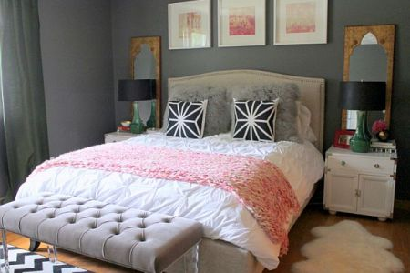 bedroom ideas for young women grey bed grey bed bench wooden floor white rug1