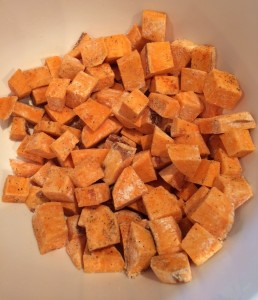 Sweet potato chunks seasoned by Veggie Vesta