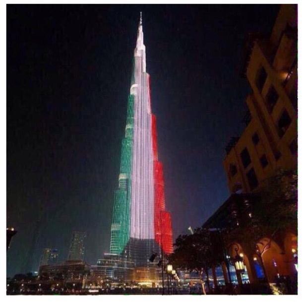 (صورة برج خليفة بلون علم الكويت بمناسبة العيد الوطني الكويتي)