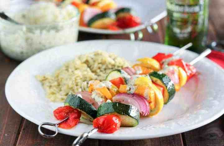 Marinated Vegetable Kabobs with Pesto Yogurt Sauce