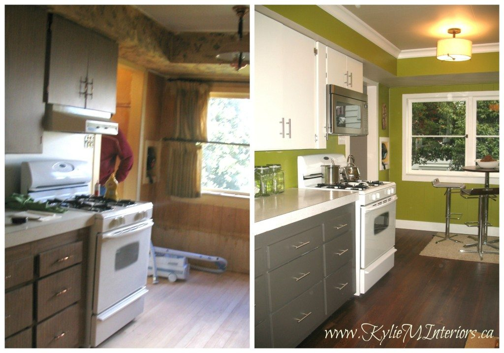 before and after repainting the master bathroom cabinets white