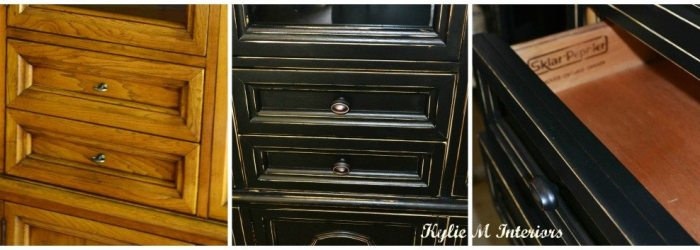 black buffet hutch painted and distressed before and after photo