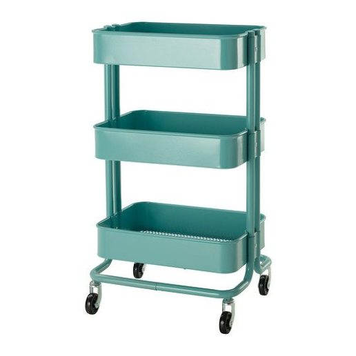 ikea raskog utility cart or trolleys provides storage ideas for books, makeup, accessories and more