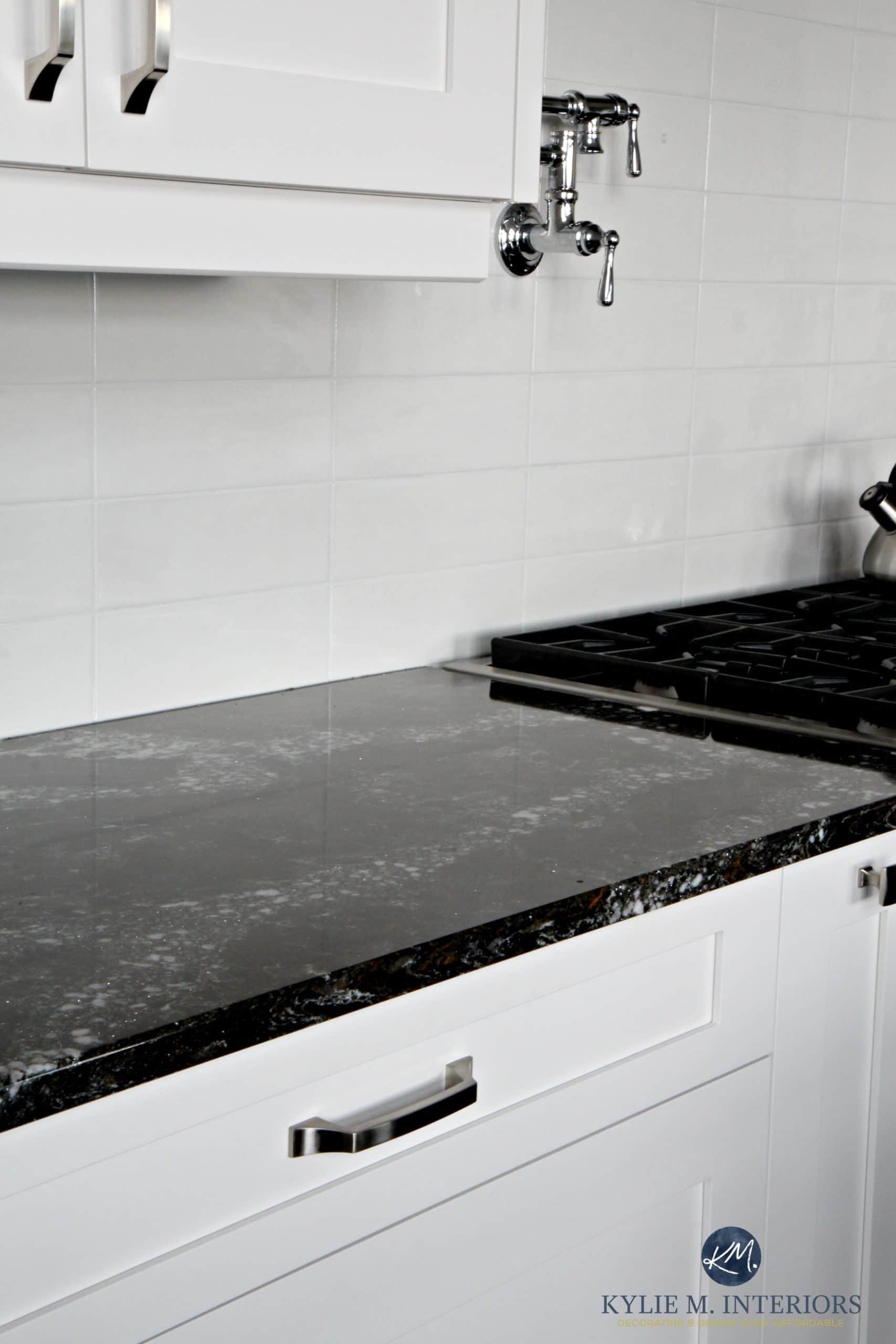 Precious Cambria Ellesmere Black Quartz Kitchen Cabinets Light Subway Tile Kylie M Interiors Decoratingand Design Cambria Ellesmere Black Quartz Kitchen Cabinets houzz-03 Gray Subway Tile