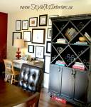 black and distressed painted furniture in a dining room with kids art gallery wall. Decorating and display ideas