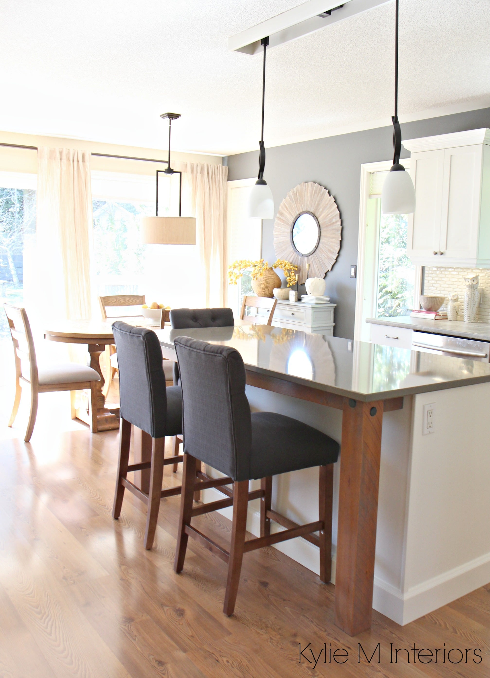 supports Benjamin Moore Gray on walls and Cloud White maple cabinets