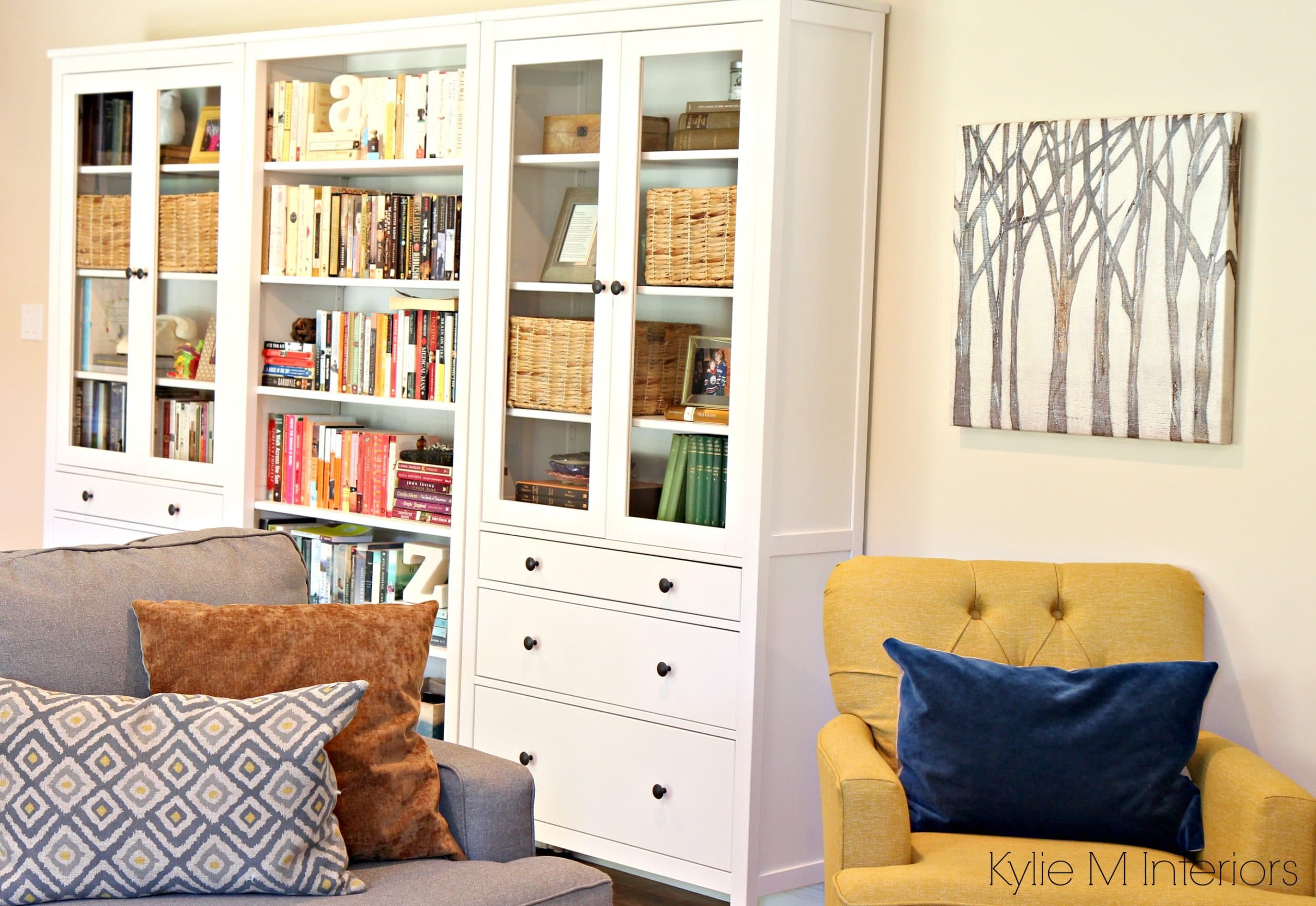 Family room with ikea hemnes bookcase and bookshelf long for Gentle cream benjamin moore