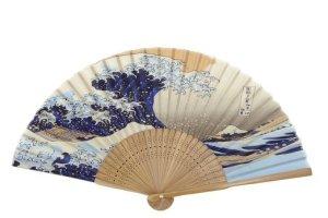 Japanese Handheld Folding Fan, with Traditional Japanese Ukiyo-e Art Prints