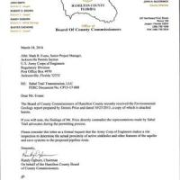 Hamilton County, FL formally requests Army Corps site inspection of Sabal Trail Suwannee River crossing 2016-03-18