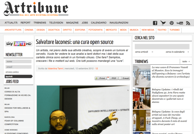 La Cura on Artribune