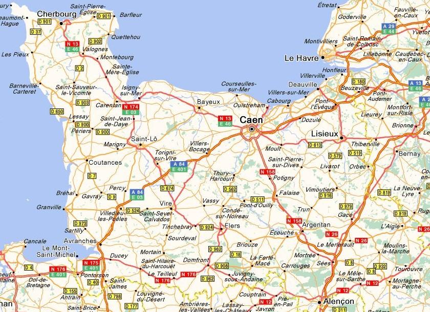 Carte r gion basse normandie la for Haute normandie basse normandie