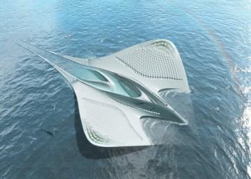 Ciudad acuática forma manta raya