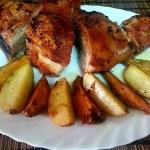 Pierna de cerdo al horno con patatas y boniato